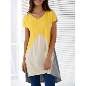 Fashionable V-Neck Short Sleeve Contrast Color Loose-Fitting Blouse