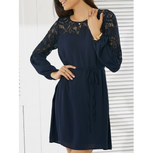 Casual Round Neck Long Sleeve Lace Dress
