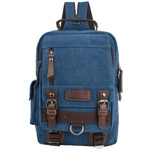 Leisure Canvas and Double Buckle Design Backpack For Men - Deep Blue
