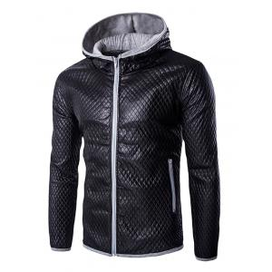 Retro Style Color Block Hooded Quilting Leather Coat For Men