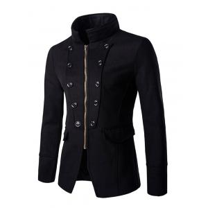 Chic Buttons Design Stand Collar Zipper Openning Overcoat For Men