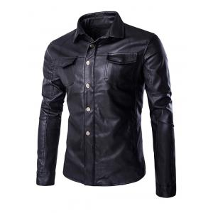 Retro Style Turn-Down Collar Flap-Pocket Design Leather Coat For Men