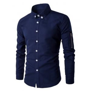 Zippered Solid Color Long Sleeve Button-Down Shirt For Men - Cadetblue - M