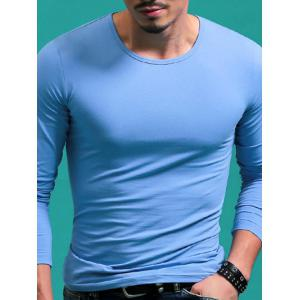 Solid Color Round Neck Long Sleeve T-Shirt For Men - Light Blue - 4xl