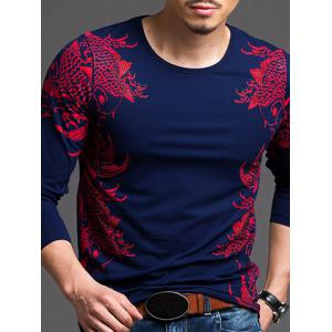 Fashionable Printed Slim Fit Long Sleeve T-Shirt For Men