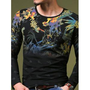 Stylish Plant Print Slim Fit Round Neck Long Sleeve T-Shirt For Men - Black - 4xl
