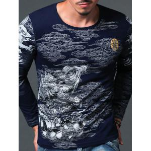 Abstract Print Round Neck Long Sleeve T-Shirt For Men