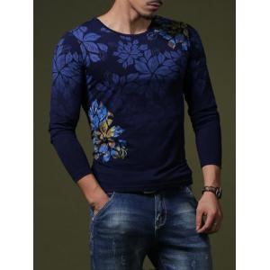 Stylish Flower Print Slim Fit Round Neck Long Sleeve T-Shirt For Men - Sapphire Blue - M