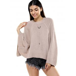 Round Neck Bat Sleeve Loose-Fitting Sweater for Women -
