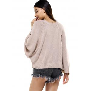 Round Neck Bat Sleeve Loose-Fitting Sweater for Women - KHAKI ONE SIZE