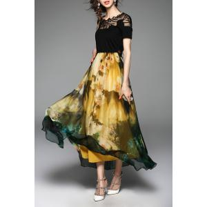Embroidered Floral Maxi Cocktail Party Dress - YELLOW AND BLACK L