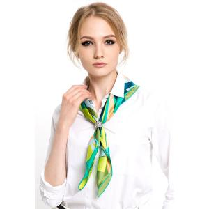 Hit Color Print Scarf - Green - S