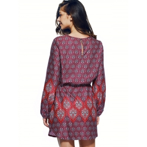 Bohemian Lace Up Drawstring Print Tunic Dress - COLORMIX XL