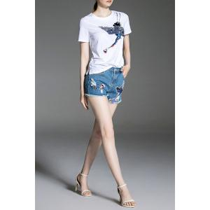 Sequined Tee and Denim Shorts -