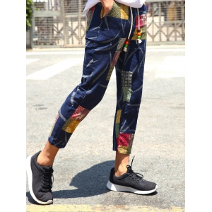 Lace-Up Patch Style Print Nine Minutes of Pants For Men - COLORMIX XL