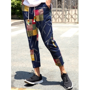 Lace-Up Patch Style Print Nine Minutes of Pants For Men -