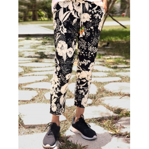 Lace-Up Floral Print Nine Minutes of Pants For Men -