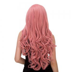 Charming Long Fluffy Wavy Middle Part Smoke Pink Synthetic Capless Cosplay Wig For Women -