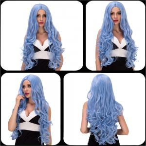 Charming Long Fluffy Wavy Middle Part Sky Blue Synthetic Capless Cosplay Wig For Women -