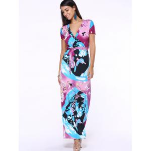 Plunging Neck Print Belted Maxi Dress -