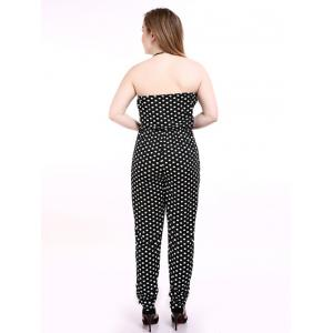 Plus Size Tube Polka Dot Jumpsuit -