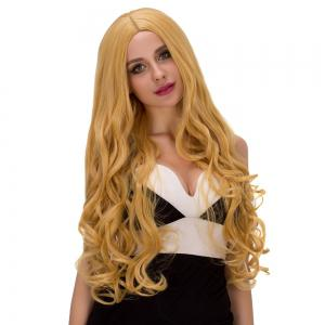Charming Long Fluffy Wavy Middle Part Golden Synthetic Capless Cosplay Wig For Women -