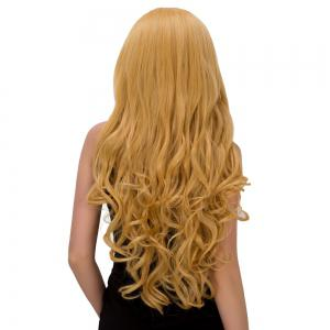 Charming Long Fluffy Wavy Middle Part Golden Synthetic Capless Cosplay Wig For Women - GOLDEN