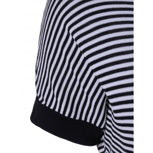 Casual Women's Scoop Neck Striped Short Sleeves Ruffles Hem Dress -
