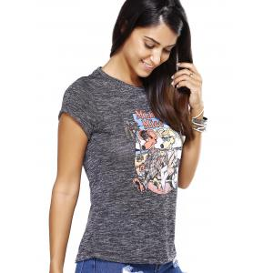 Chic Women's Cartoon Pattern Gray T-Shirt -