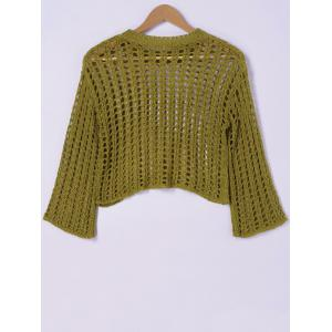Stylish Hollow Out Round Neck Knitwear For Women -