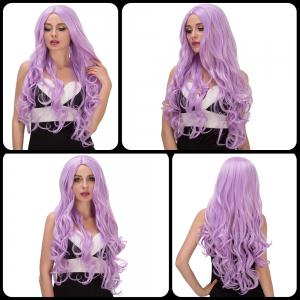 Vogue Long Fluffy Wavy Middle Part Lavender Synthetic Capless Cosplay Wig For Women -