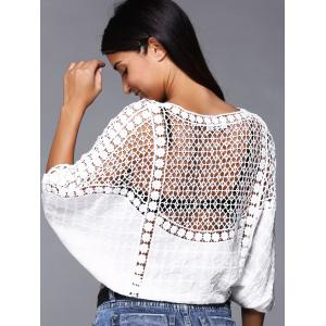 Brief Women's Crochet Batwing Sleeves Crop Top -