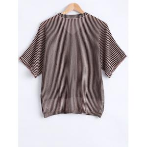 Casual Asymmetric Striped Short Sleeves Knitwear For Women -
