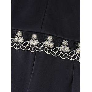 Oversized Sophisticated Tiny Flower Embroidered Dress - BLACK 6XL