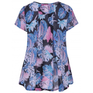 Casual Leaf Print Draped Blouse - COLORMIX L