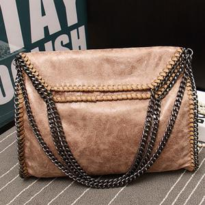 Fashion PU Leather and Chains Design Shoulder Bag For Women - OFF WHITE