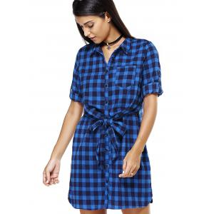 Blue Checked Print Bowtie Belted Loose Shirt Dress -