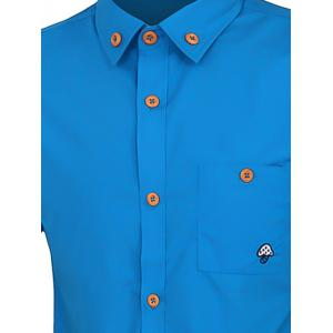 One Pocket Solid Color Short Sleeves Button-Down Shirt For Men -