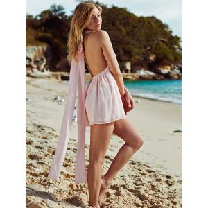 Pink Plunging Neck Open Back Chiffon Romper -