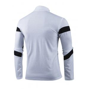 Turn-Down Collar Color Block Spliced Long Sleeve Men's T-Shirt -