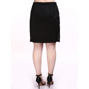 Plus Size Brief Mesh Splicing Black Skirt -