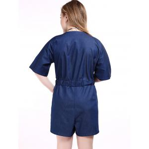 Plus Size Surplice Short Denim Romper with Pocket -