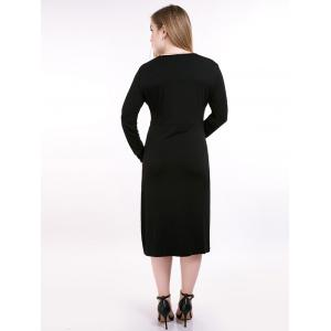 Plus Size Tie Front Long Sleeve Tee Dress - BLACK 7XL