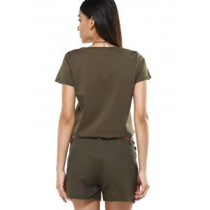 Chic Women's V-Neck Girl Pattern T-Shirt and Shorts Twinset -
