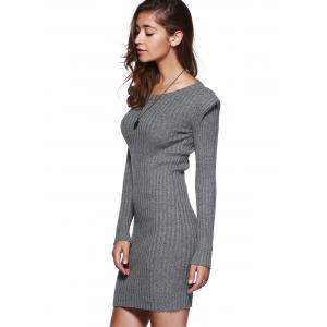 Grey Knitted Bodycon Dress with Long Sleeves -