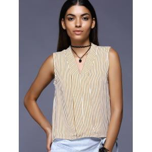 Brief Sleeveless Striped Blouse For Women -