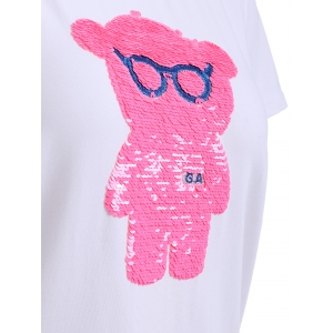 Pink Bear Pattern Sequined Tee -