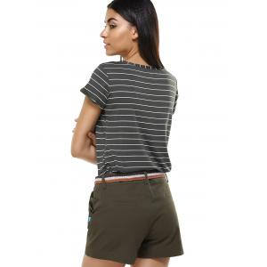 Simple Women's Striped Girl Pattern T-Shirt and Shorts Twinset -