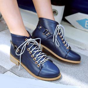 Casual Tie Up and Zipper Design Ankle Boots For Women -