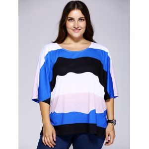 Casual Loose-Fitting Scoop Neck Color Block Stripe Top For Women - COLORMIX 2XL
